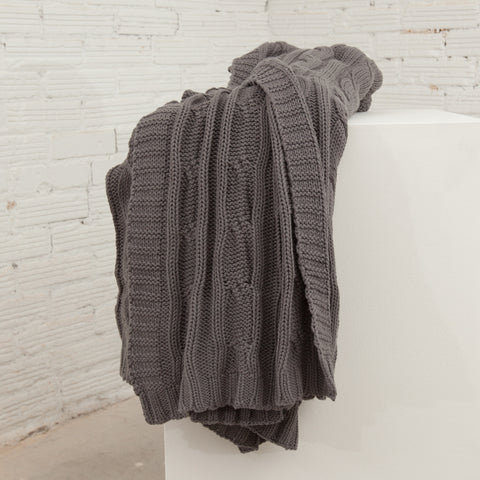 Cozy Grey Cable Knit Throw