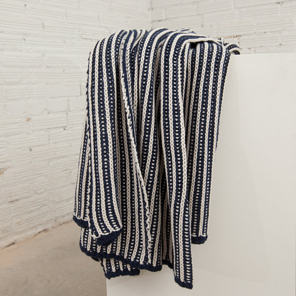 Cozy Navy Striped Cable Knit Throw