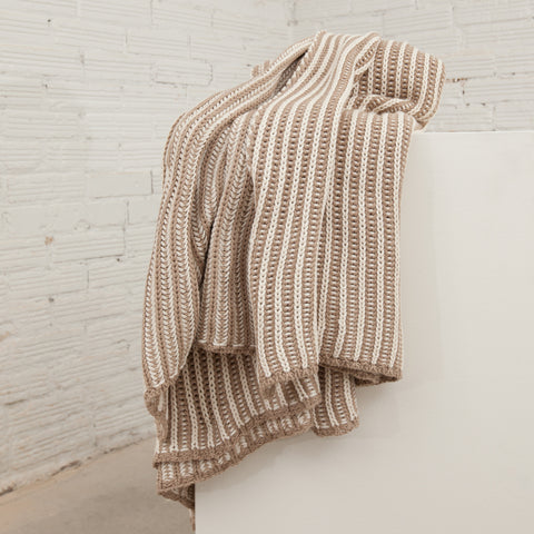 Cozy Cream Striped Cable Knit Throw