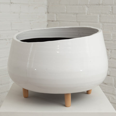 Large White Ceramic Planter w/ Wood Feet