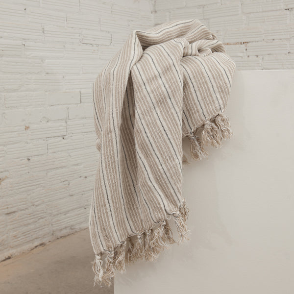 Blue/Natural Striped Newport Throw