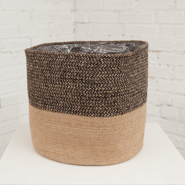 Large Black/Natural Jute Basket