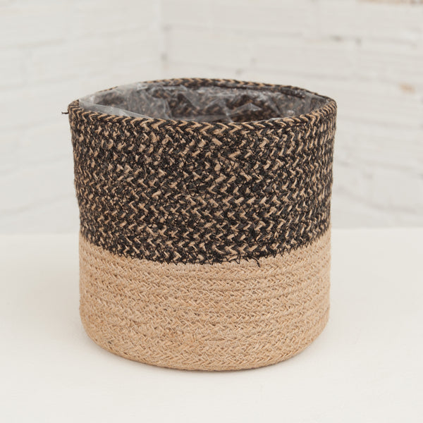 Small Black/Natural Jute Basket