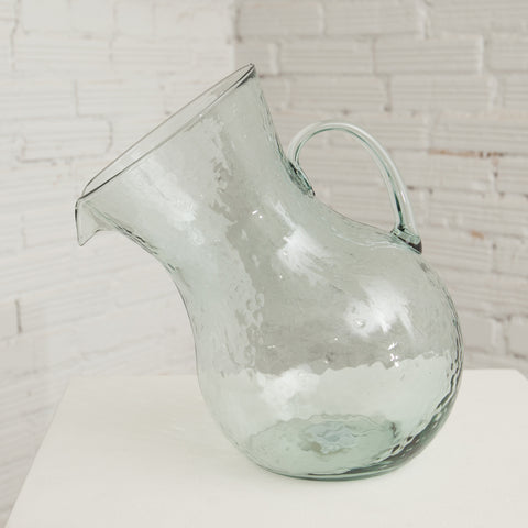 Large Tilted Glass Pitcher