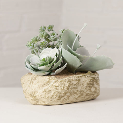 Artificial Succulent Garden in Rock Vase