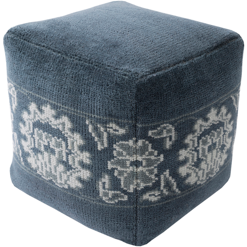 Navy and Denim Pouf