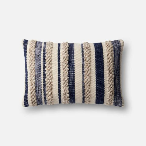 Magnolia Home Navy/Ivory Striped Kidney Pillow