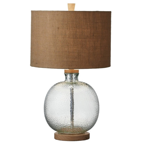 Textured Glass & Wood Table Lamp