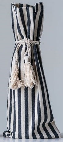Cotton Striped Wine Bag With Tassels