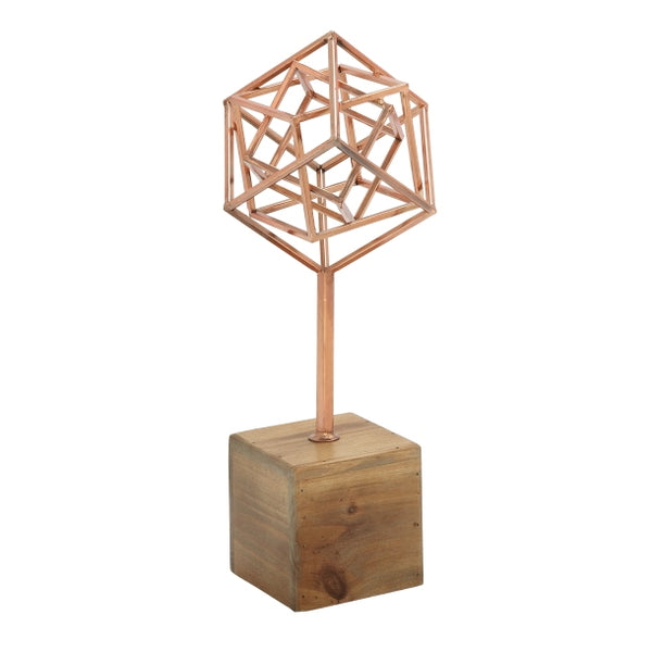 Abstract Geometric Copper Sculpture