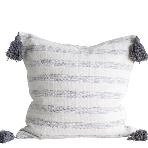 "18"" Woven Striped Pillow With Tassels"