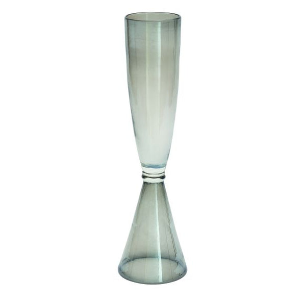 Cinched Smoke Glass Vase
