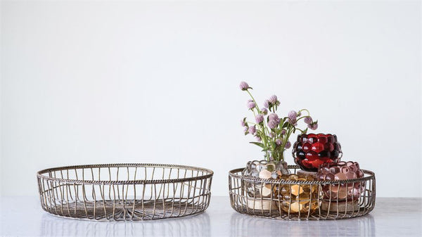Woven Metal Basket Antique Gold