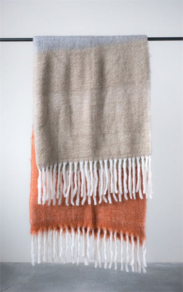 "Russet Plaid Mohair & Acrylic Throw 60""x 50"""
