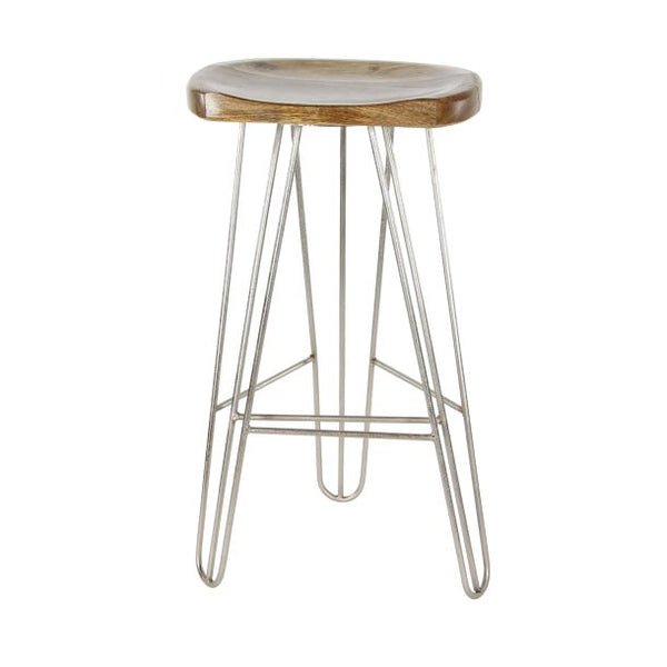Wood Seat Metal Bar Stool