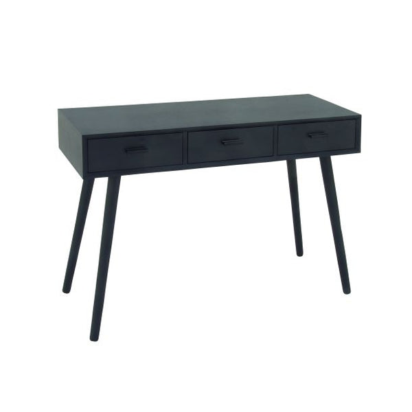 Three Drawer Black Console Table