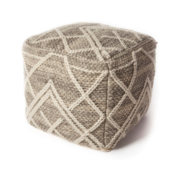 Grey Crossways Pouf