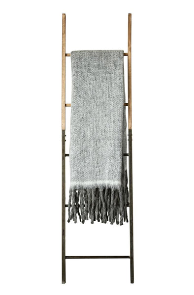 "Grey Mohair & Acrylic Throw 60""x 50"""