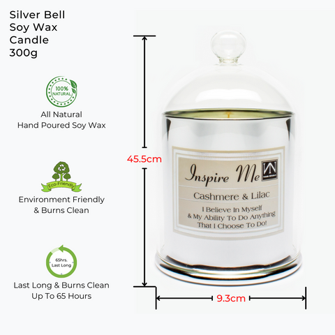 INSPIRATIONAL GIFT - ELEGANT SILVER BELL SHAPED SCENTED SOY WAX CANDLE