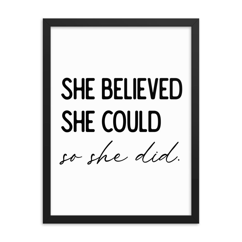 Framed Inspirational Poster Gift - She Believed She Could So She Did - NN Inspirational Gifts
