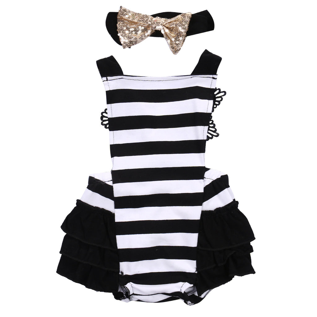 Lace Tutu Romper Striped Backless Jumpsuit + Headband Outfits