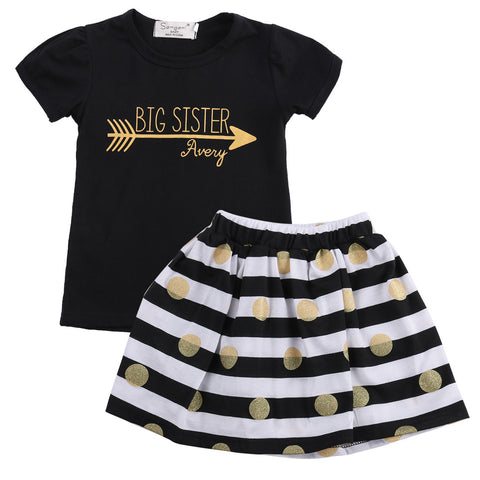 Black Tops T-Shirt Striped + Striped Skirt Outfits 2Pcs Set