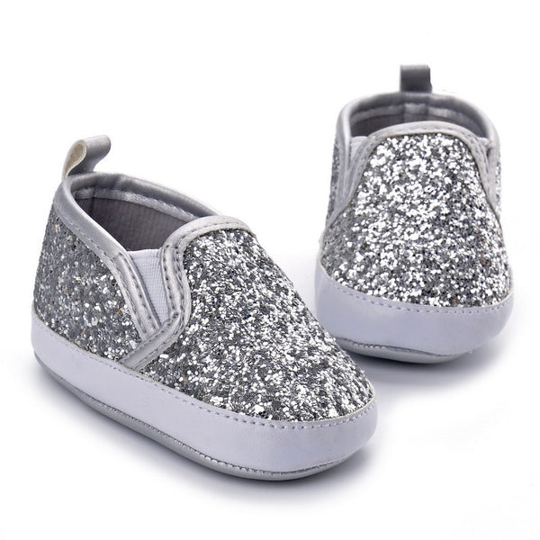 Silver moccasins shoes