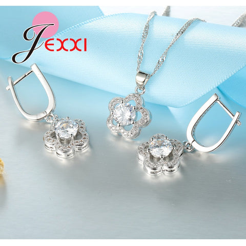 Luxury S925 Flower Sets Crystal Necklace and Earring
