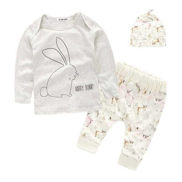 Bunny Pattern Top + Pants + Hat Outfits Casual Clothes 0-4Y