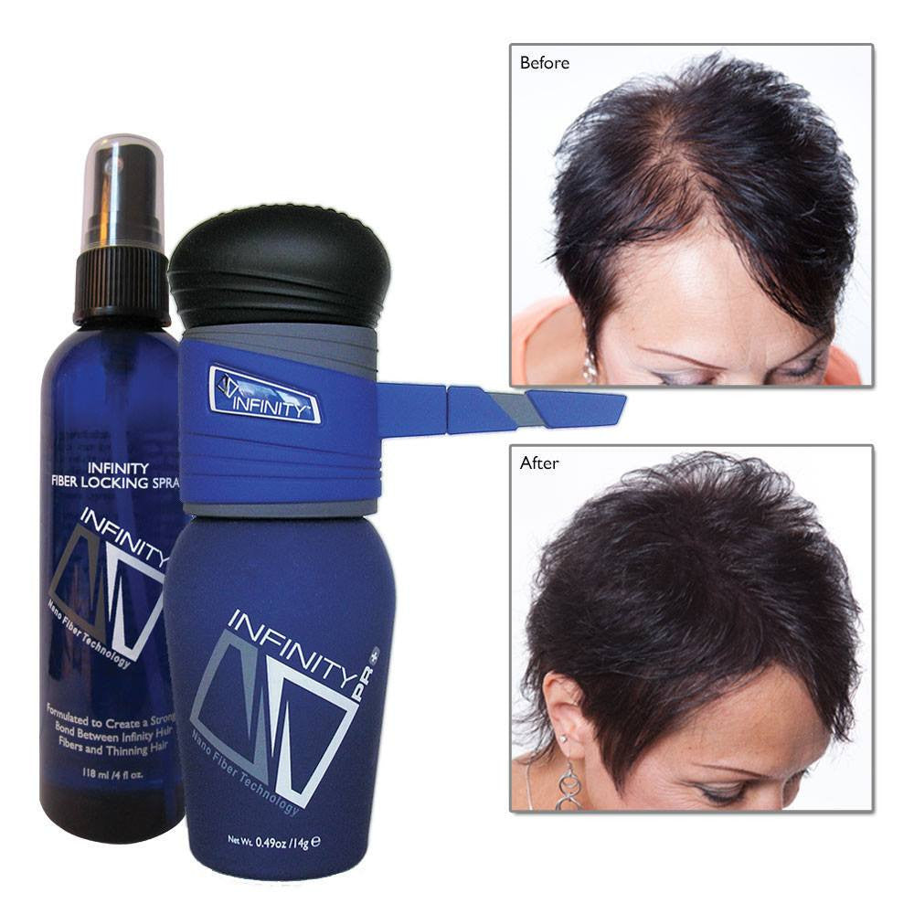 Infinity Hair Fibers Hair Loss Concealer + FREE Pump &  Spray (Black)
