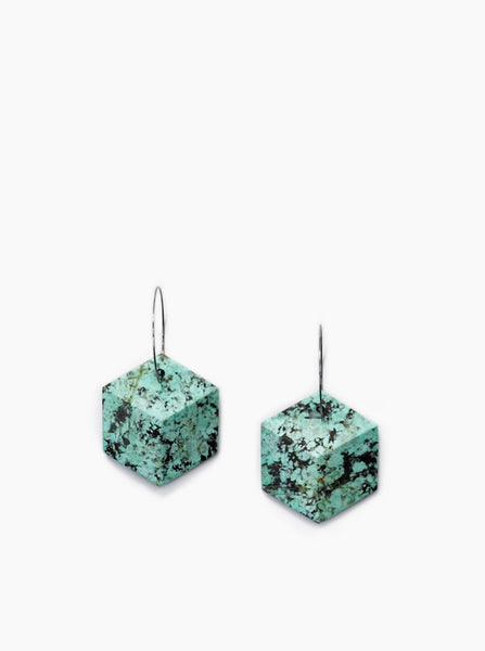 Winter Hexagon Earrings (African Turquoise)