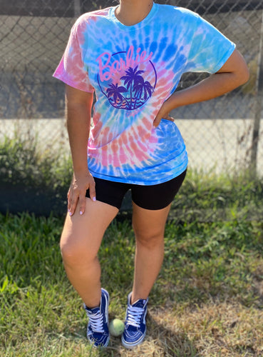 Barbie tie dye tee (palms)