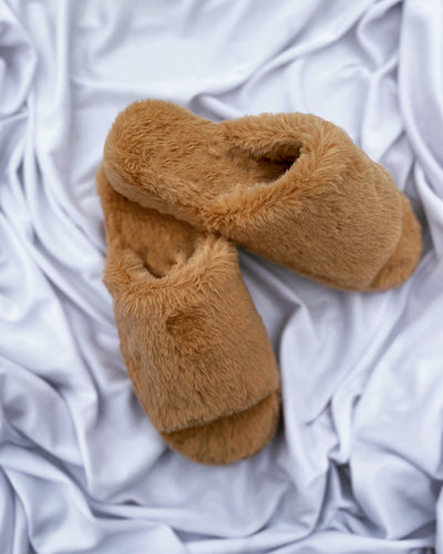 On the go fluffy slippers (camel)