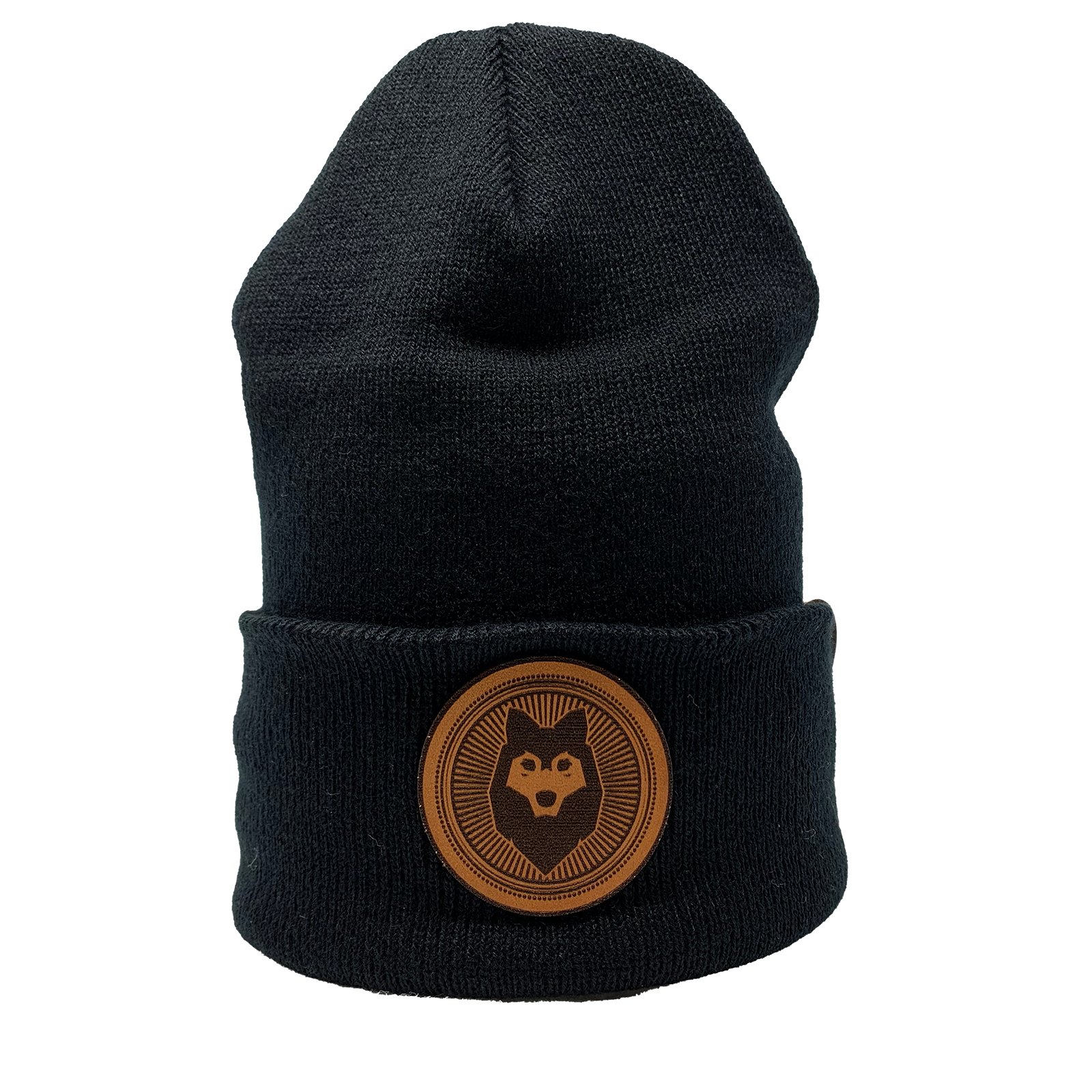 Huskybeard/Branded Bills - Beanie w/ Leather Patch