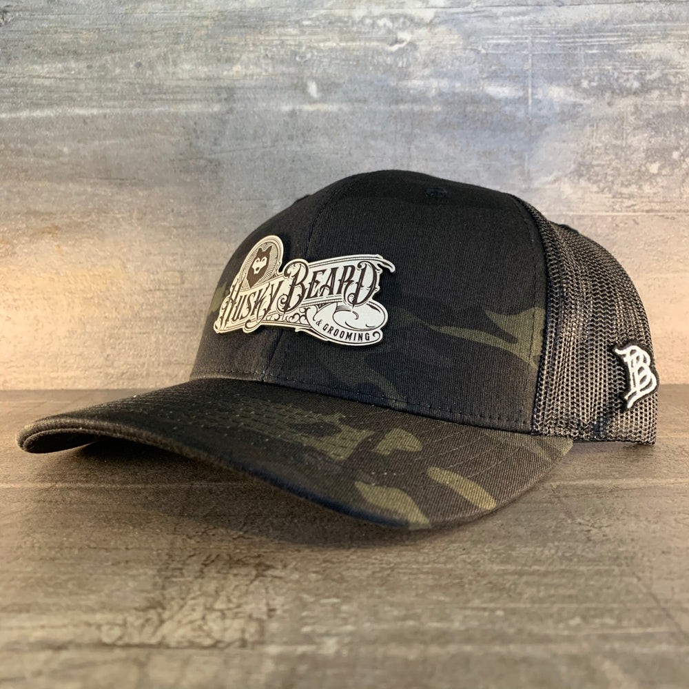 Huskybeard/Branded Bills - Low Profile Trucker w/ White Leather Patch