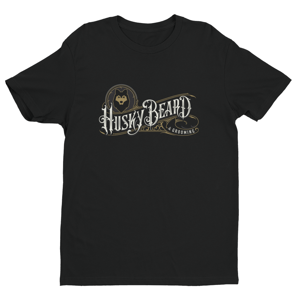 Husky Beard & Grooming T-shirt - Large Logo on Front - Black