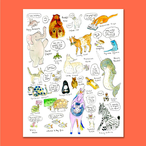 Animal Alphabet 11X14 Art Print