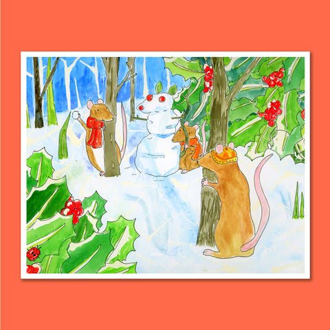 Snowball Fight 11X14 Art Print
