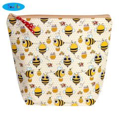 Medium Wedge Knitting Bag-Kawaii Bees