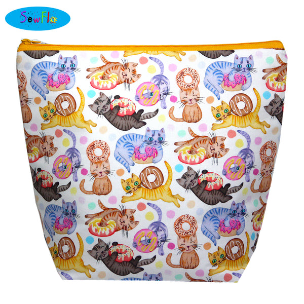 Large Wedge Knitting Bag-Cats and Doughnuts