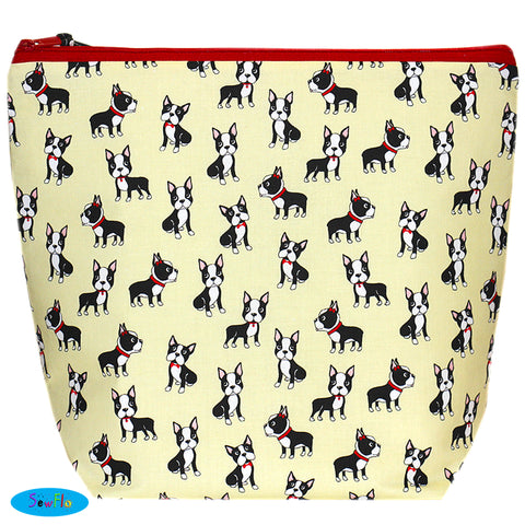 Large Wedge Knitting Bag-Boston Terrier