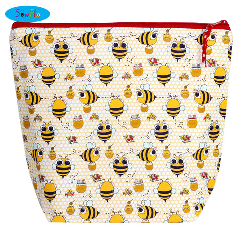 Large Wedge Knitting Bag-Kawaii Bees