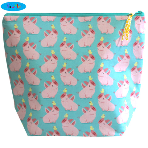 Large Wedge Knitting Bag-Cute Pigs