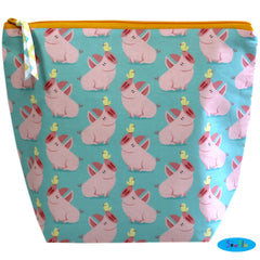 Medium Wedge Knitting Bag-Cute Pigs