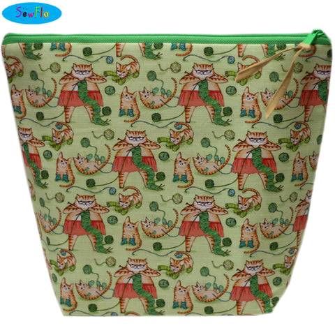 Large Wedge Knitting Bag-Cats Knitting