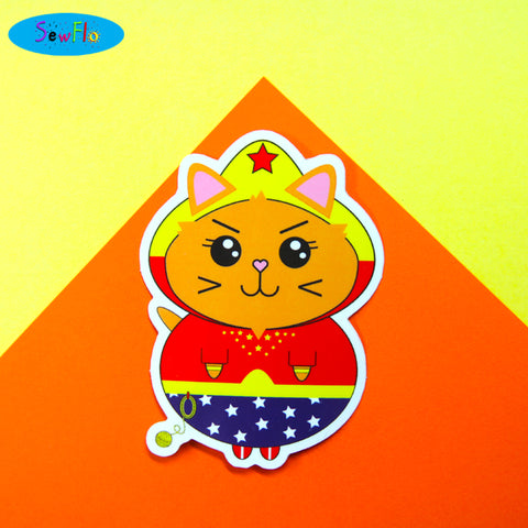 Wonder Kitty Vinyl Sticker - SewFlo