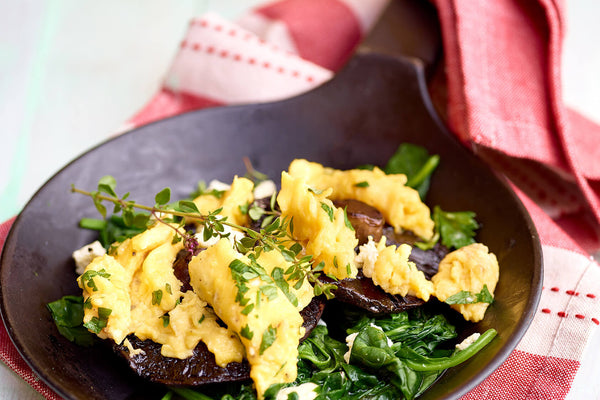 Scrambled Eggs with Greens and Mushrooms Recipe