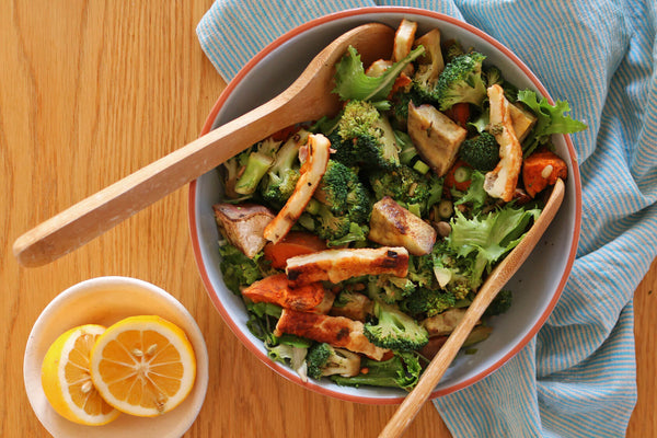 Broccoli Salad with Bacon, Pine Nuts and Halloumi Recipe