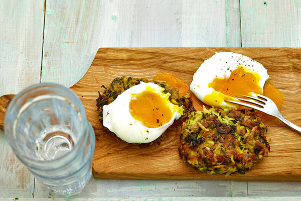 BePure Poached Eggs with Kumara Rosti and Kale Recipe
