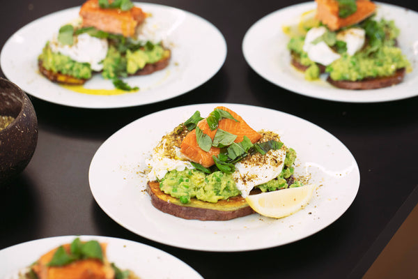 Avocado Smash on Kumara Stack